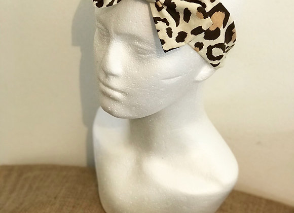Leopard Print Brown bow head band
