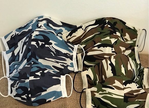 Blue and Green Camouflage Face Coverings