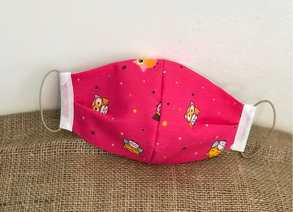 Pink Owl toddler size Face Covering