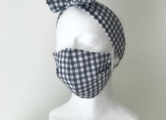 Grey Gingham Bow Headband to match Face covering