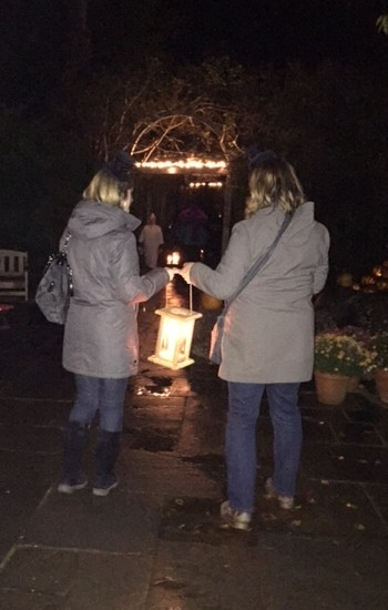 They gave us a REAL candle so we could walk through the garden safely (and to keep the ghosts at bay).
