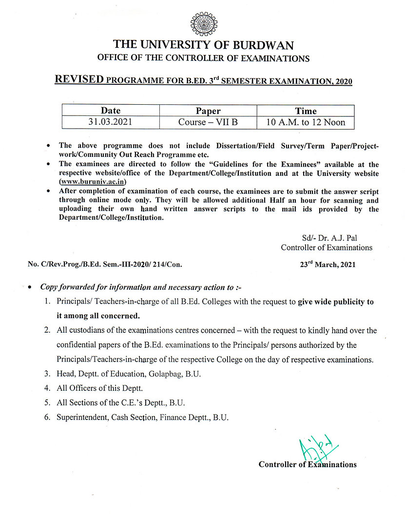 Revised Notification for BEd Sem-III Exam-2020