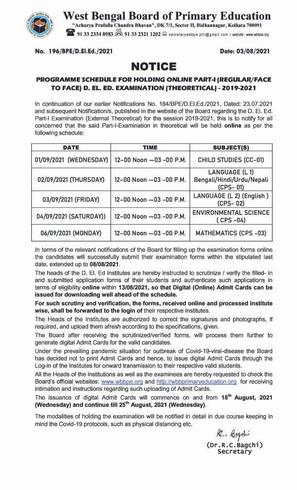 D.El.Ed Part-I (Session: 2019-2021) Examination Programme