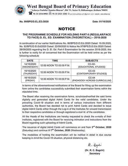 THE PROGRAMME SCHEDULE FOR HOLDING PART-II (REGULARFACE TO FACE) D. EL. ED. EXAMINATION (THEORETICAL) – 2018-2020