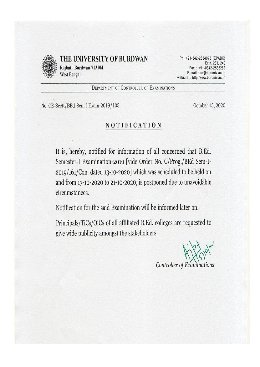 Notification Regarding B.Ed. Semester-I Exam-2019