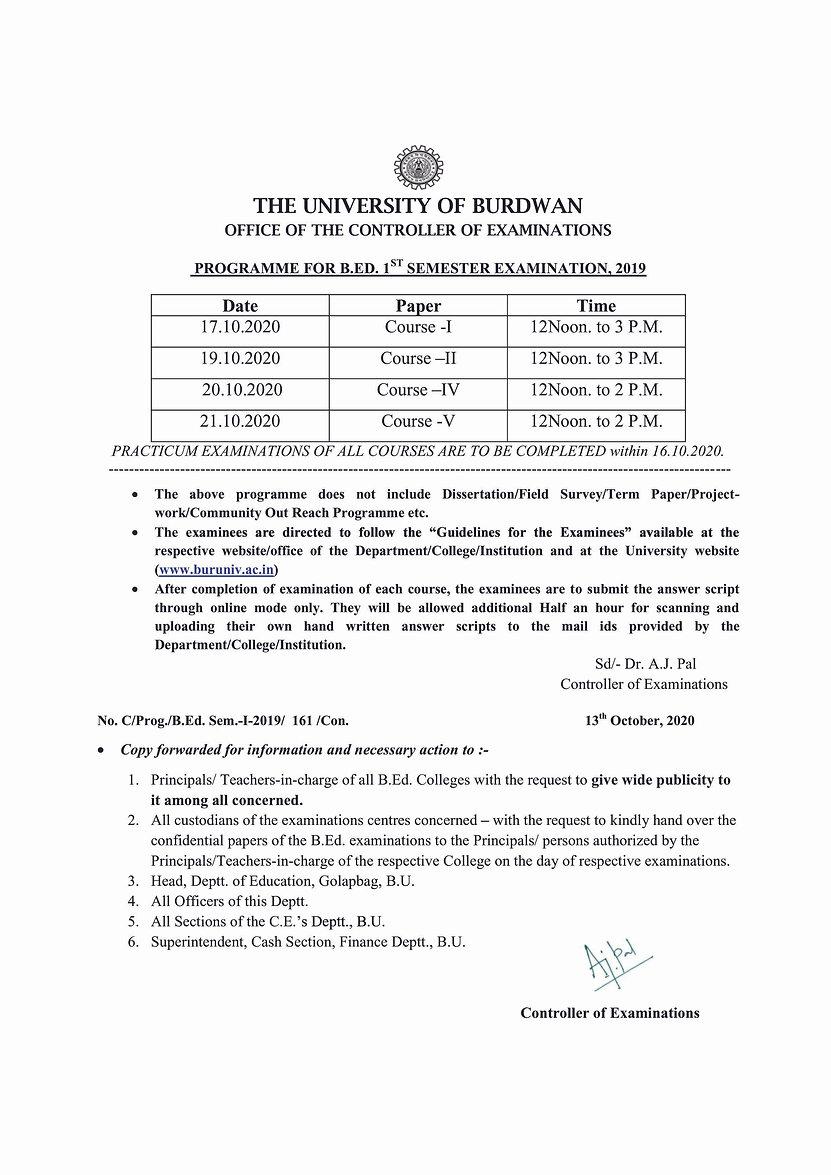 Programme for B.Ed Sem-I Examination-2019