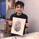 9 Years Old Student | Beginner | Group lessons | Graphite Pencil