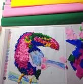 Coloured pencil & handwork
