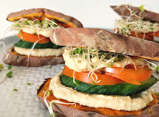 Sweet Potato Sliders with Oil Free Hummus