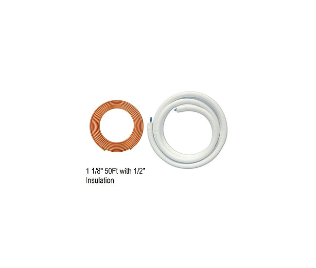 "YMGI Single Copper 1 1/8"" 50ft with 1/2"" Insulation"