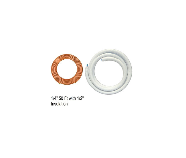 "YMGI Single Copper 1/4"" 50 ft with 1/2"" Insulation"
