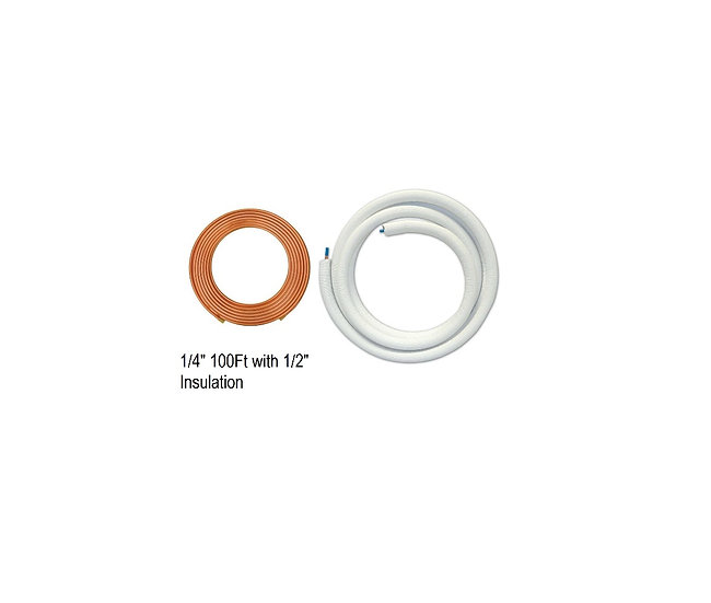 "YMGI Single Copper 1/4"" 100 ft with 1/2"" Insulation"