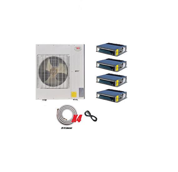 YMGI 48000 BTU 4 Ton 4 Zone Ductless Mini Split Air Conditioner Fan Coil