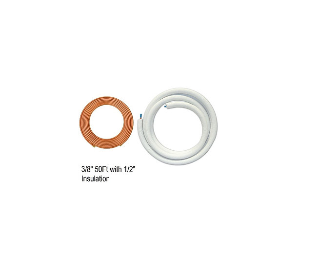 "YMGI Single Copper 3/8"" 50 ft with 1/2"" Insulation"