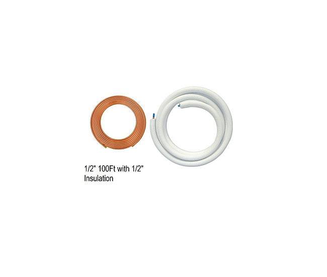 """YMGI Single Copper 1/2"""" 100 ft with 1/2"""" Insulation"""