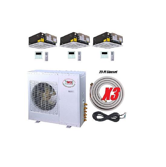 YMGI 36000 BTU 3 Zone Ductless Mini Split Air Conditioner Ceiling Cassette
