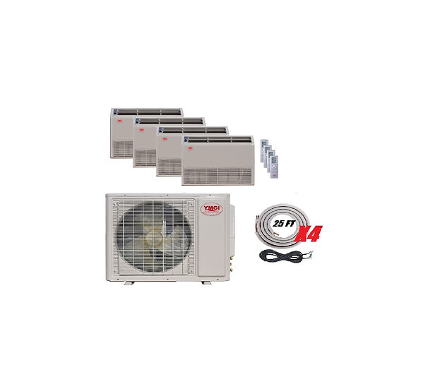 YMGI 48000 BTU 4 Ton 4 Zone Ductless Mini Split Air Conditioner Floor Ceiling