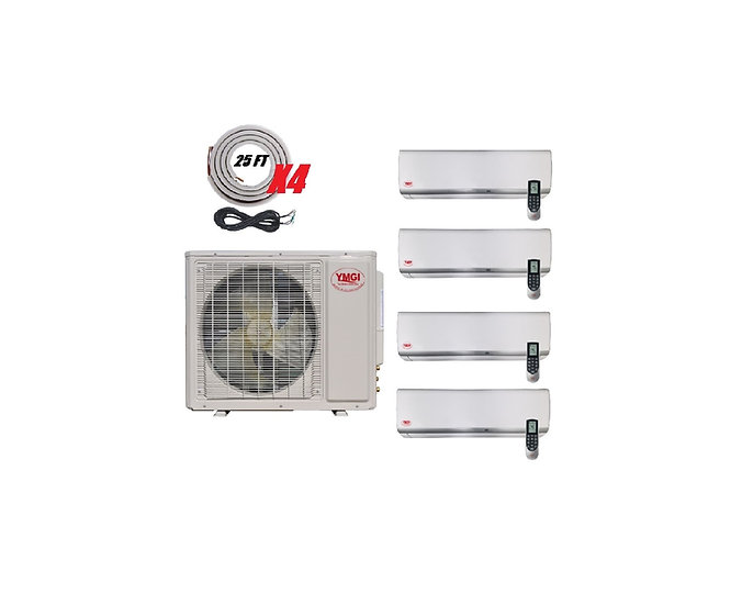 YMGI 42000 BTU 21 SEER 4 Zone Ductless Mini Split Air Conditioner Heat Pump