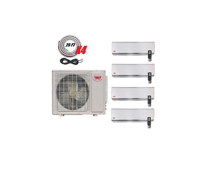 YMGI 42000 BTU 21 SEER 4 Zone Ductless Mini Split Air Conditioner Heat Pump