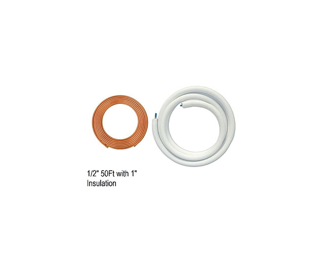 "YMGI Single Copper Line 1/2"" 50 ft with 1"" Insulation"