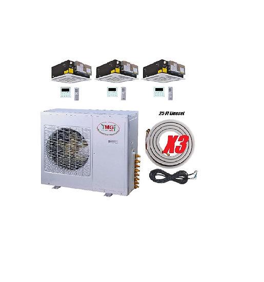 YMGI 42000 BTU 3 Zone Ductless Mini Split Air Conditioner Ceiling Cassette