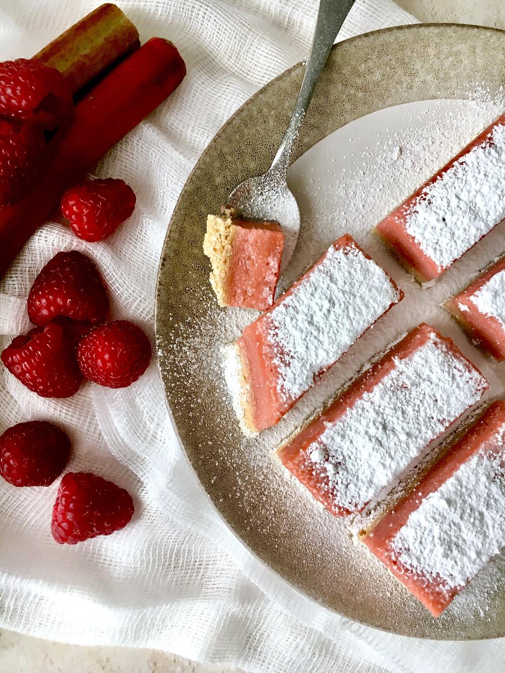 Rhubarb & Raspberry Custard Tart