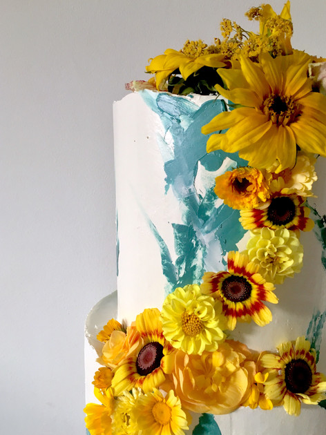 Floral Brushstroke Wedding Cake