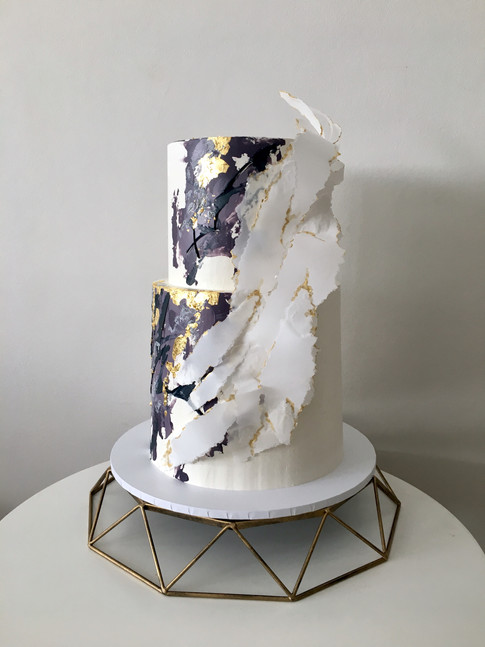 Buttercream Brushstrokes and Ripped Wafer Paper