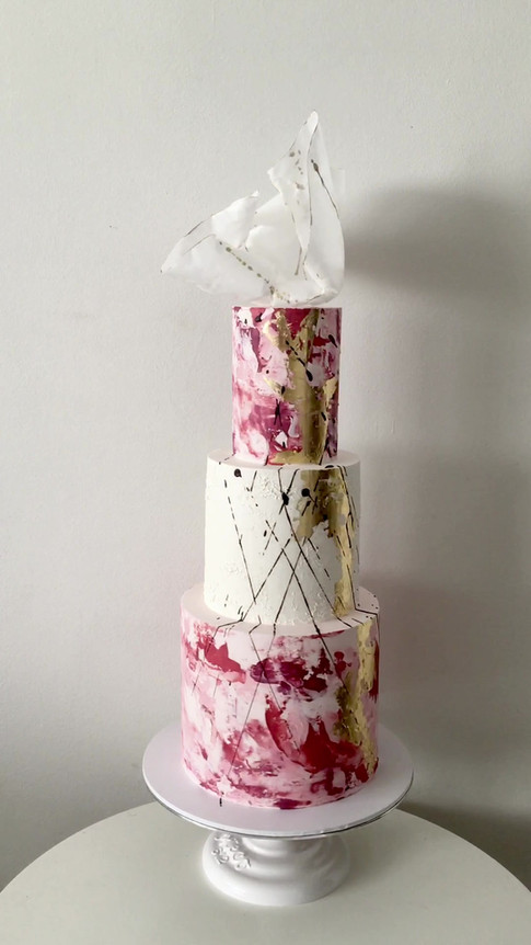 Watercolour and Wafer Paper Wedding Cake