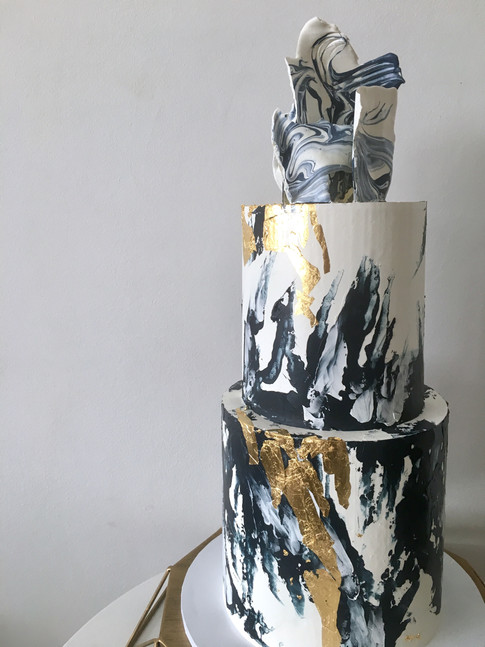 Navy, White & Gold Abstract Brushstroke Buttercream With Moulded Chocolate Sail