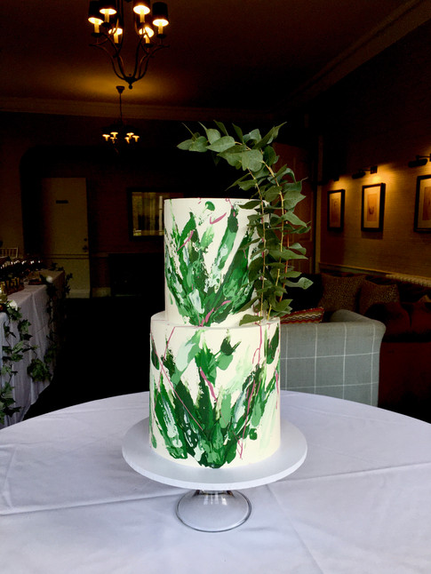 Leafy Green Abstract Palette Knife Stroke Cake