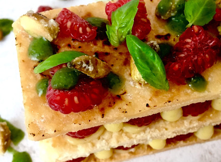 Millefeuille With Raspberries, Pistachio And Basil