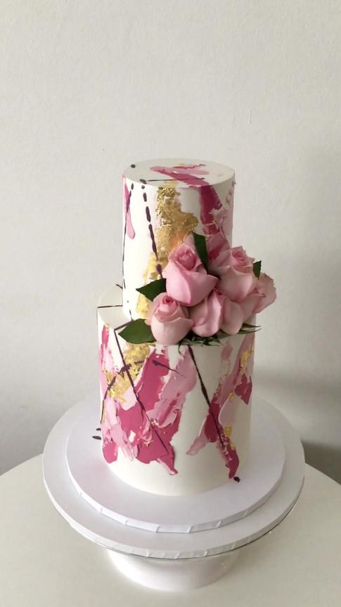 Abstgract Buttercream Wedding Cake