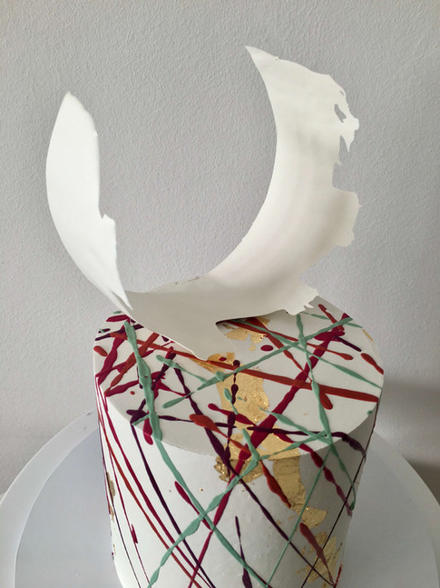 Abstract Buttercream Celebration Splattering With Moulded Chocolate Topper