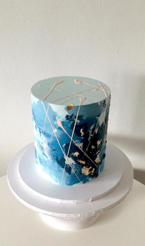 Blue Watercolour Cake
