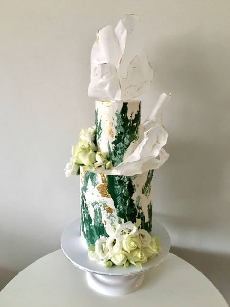 Textured Buttercream and Wafer Paper Bespoke Wedding Cake