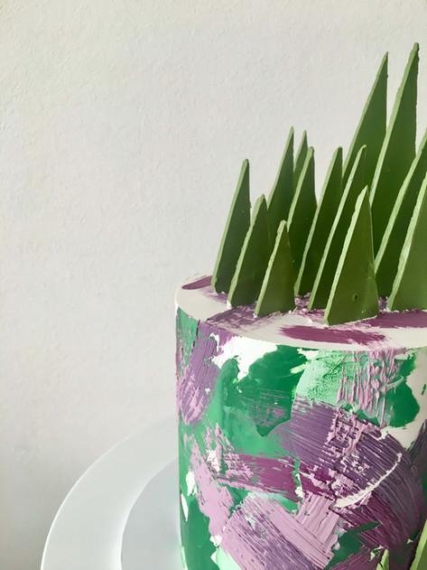 Abstract Buttercream Garden Celebration Cake