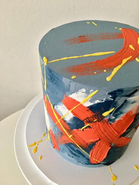 Watercolour and Brushstroke Buttercream Cake