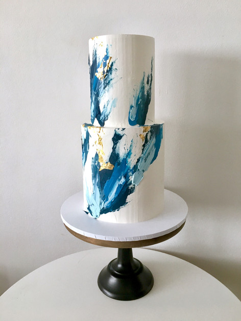 Abstract Buttercream Brushstroke Wedding Cake