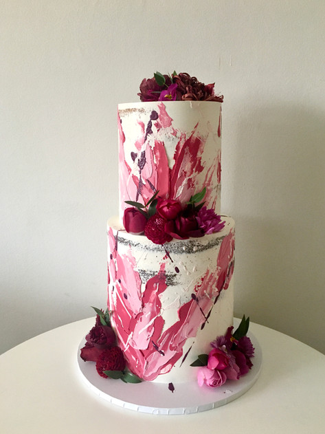 Semi-naked Cake With Absract Brushstrokes