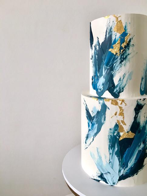 Abstract Buttercream Brushstroke Wedding Cake
