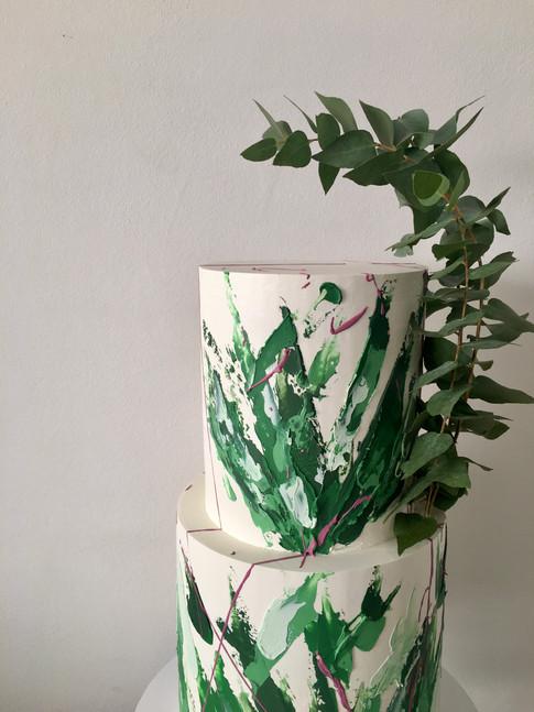 Abstract Brushstroke Wedding Cake