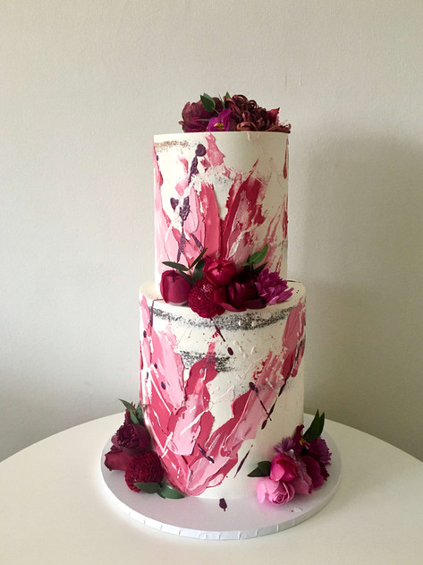 Semi-naked Wedding Cake With Absract Brushstrokes