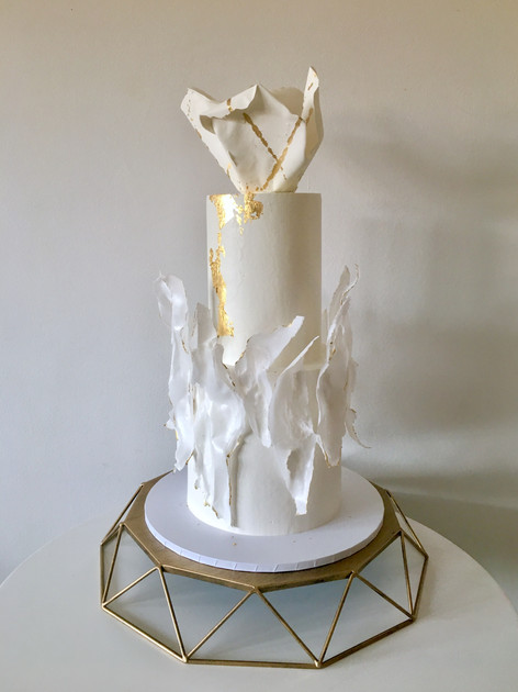 Gold On White With Moulded Wafer Paper