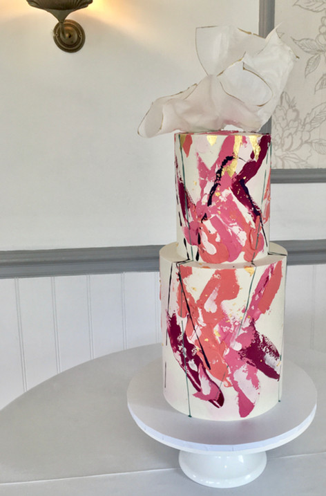Abstract Buttercream Wedding Cake With Wafer Paper Sail