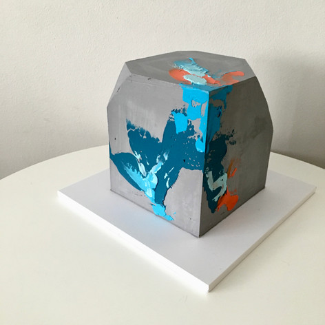 Square Concrete Cake With Abstract Palette Knife Strokes