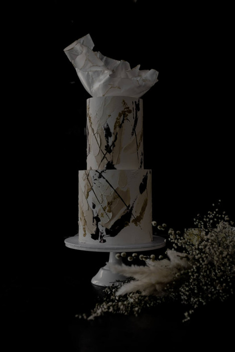 Textured Buttercream, Palette Knife Strokes and Mouled Wafer Paper Wedding Cake