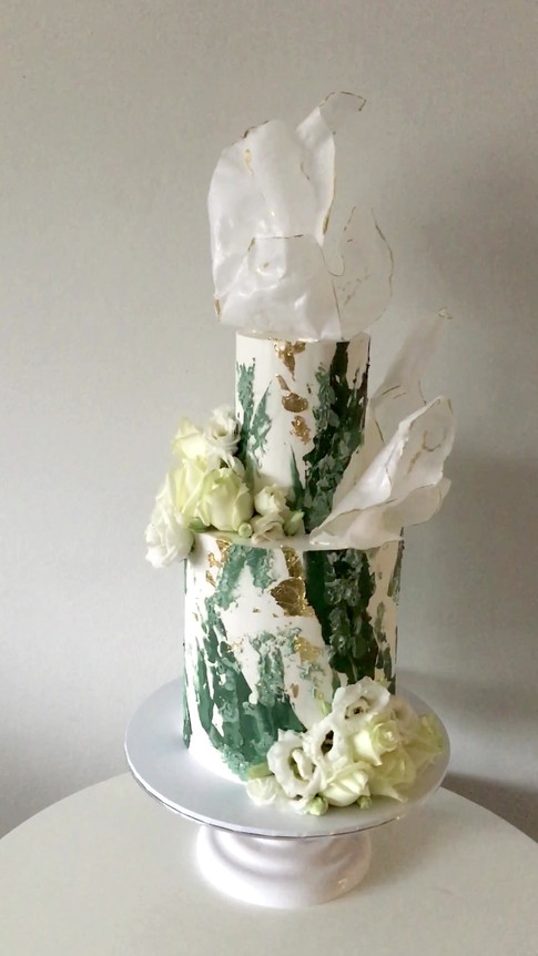 Two Tiered Rose & Wafer Paper Sail Wedding Cake