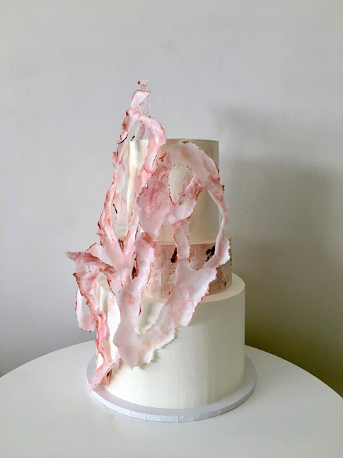 Ripped Wafer Paper Wedding Cake