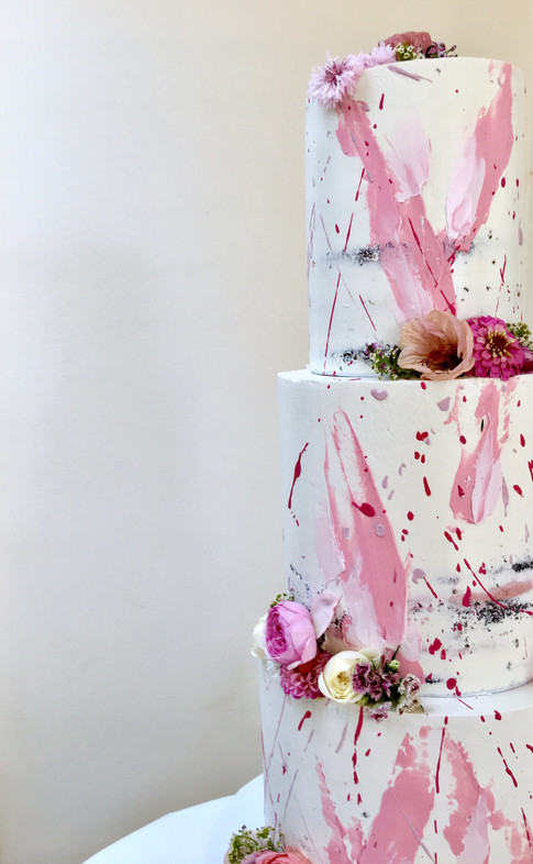 Semi-naked Wedding Cake With Abstract Brushstrokes